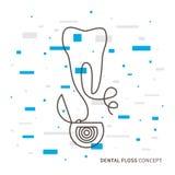 Illustrazione lineare di vettore del filo per i denti Immagini Stock