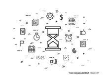 Illustrazione lineare di vettore dell'orologio della gestione di tempo Fotografia Stock Libera da Diritti