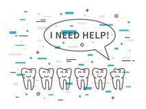 Illustrazione lineare di vettore della carie dentaria del dente illustrazione di stock