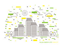 Illustrazione lineare di vettore della città a energia solare illustrazione vettoriale