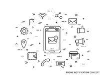 Illustrazione lineare di vettore della posta di notifica del telefono Fotografia Stock