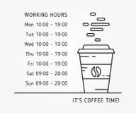Illustrazione lineare di vettore di ore lavorative di tempo del caffè Immagine Stock Libera da Diritti