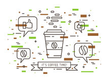 Illustrazione lineare di vettore di tempo del caffè royalty illustrazione gratis