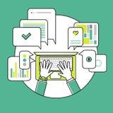Illustrazione lineare piana di comunicazione online Fotografia Stock