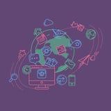 Illustrazione lineare variopinta di media sociali Immagine Stock
