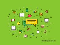 Illustrazione lineare variopinta di vettore di comunicazione di chiacchierata del messaggero Fotografie Stock