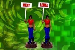 illustrazione livellata seguente della donna 3D Immagine Stock