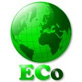Illustrazione lucida del globo del mondo di verde di Eco royalty illustrazione gratis