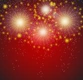 Illustrazione lucida di vettore del fondo dei fuochi d'artificio Immagini Stock Libere da Diritti