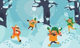 Illustrazione luminosa con i bambini che giocano, correre e saltanti nella neve fra gli alberi ed i cumuli di neve Orizzontale di royalty illustrazione gratis