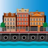 Illustrazione luminosa dell'orizzonte della città di Copenhaghen Immagini Stock