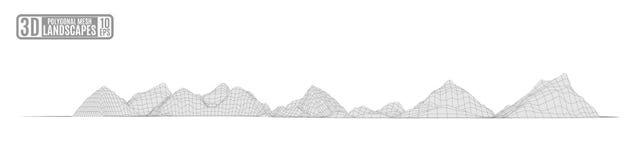Illustrazione luminosa di astrazione delle montagne cosmiche di griglia per pre royalty illustrazione gratis