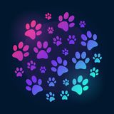 Illustrazione luminosa di Paw Prints e colorata rotonda di vettore illustrazione vettoriale