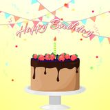 Illustrazione luminosa di vettore con il ` di buon compleanno del ` del dolce, della candela, degli stendardi, dei coriandoli e d royalty illustrazione gratis