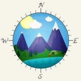 Illustrazione luminosa di vettore con le montagne, gli alberi, il lago, la tenda ed il fuoco illustrazione vettoriale