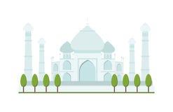 Illustrazione luminosa di vettore del tempio di architettura di viaggio del palazzo dell'India Agra di chiaro giorno di Taj Mahal Immagini Stock