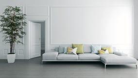Illustrazione luminosa moderna della rappresentazione dell'appartamento 3D degli interni Fotografia Stock Libera da Diritti