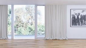 Illustrazione luminosa moderna della rappresentazione dell'appartamento 3D degli interni Immagini Stock Libere da Diritti