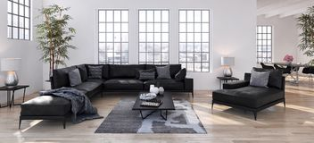 Illustrazione luminosa moderna della rappresentazione dell'appartamento 3D degli interni Fotografia Stock