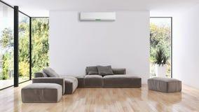 Illustrazione luminosa moderna della rappresentazione dell'appartamento 3D degli interni Immagine Stock Libera da Diritti