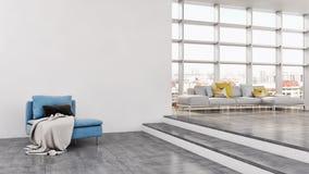 Illustrazione luminosa moderna della rappresentazione dell'appartamento 3D degli interni Fotografie Stock Libere da Diritti