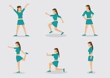 Illustrazione lunga sexy di signora Exercising Vector Character dei capelli illustrazione vettoriale