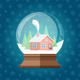Illustrazione magica di vettore del globo della neve di Natale Regalo di vetro dello snowglobe Fotografie Stock