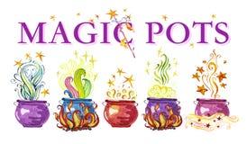 Illustrazione magica disegnata a mano dei vasi dell'acquerello artistico royalty illustrazione gratis