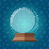 Illustrazione magica vuota di vettore del globo della neve Regalo dello snowglobe di Natale Immagini Stock Libere da Diritti