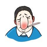 Illustrazione malata dell'uomo Fotografia Stock