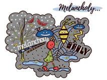Illustrazione malinconica di scarabocchio Immagine Stock