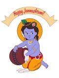 Illustrazione, manifesto o insegna creativo del fumetto per il festival indiano della celebrazione di janmashtami Fotografia Stock