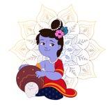 Illustrazione, manifesto o insegna creativo del fumetto per il festival indiano della celebrazione di janmashtami Fotografia Stock Libera da Diritti