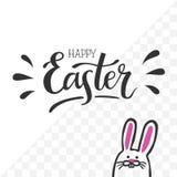 Illustrazione a mano-letering Pasqua felice di vettore con il coniglietto di pasqua sveglio Fotografia Stock Libera da Diritti