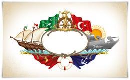 Illustrazione marittima turca delle icone Fotografia Stock