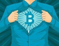 Illustrazione maschio di vettore dell'eroe del blockchain BTC fotografie stock libere da diritti