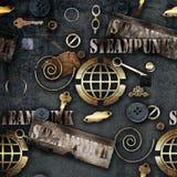 Illustrazione meccanica astratta del fondo dello steampunk degli elementi Fotografie Stock