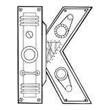 Illustrazione meccanica di vettore dell'incisione della lettera K Fotografia Stock Libera da Diritti