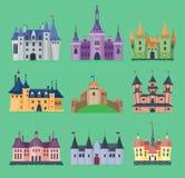 Illustrazione medievale della costruzione del castello di architettura del palazzo del castello di vettore di fiaba del fumetto d Fotografie Stock Libere da Diritti