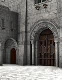 Illustrazione medievale di pietra del cortile del castello Fotografia Stock Libera da Diritti