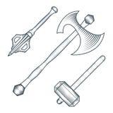 Illustrazione medievale di stile dell'incisione del macis del warhammer dell'ascia illustrazione di stock
