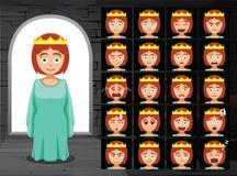 Illustrazione medievale di vettore di principessa Cartoon Emotion Faces Fotografia Stock