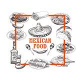 Illustrazione messicana disegnata a mano di schizzo dell'alimento di vettore d'annata Immagini Stock Libere da Diritti
