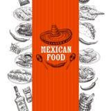 Illustrazione messicana disegnata a mano di schizzo dell'alimento di vettore d'annata Immagine Stock Libera da Diritti