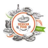 Illustrazione messicana disegnata a mano di schizzo dell'alimento di vettore d'annata Fotografia Stock
