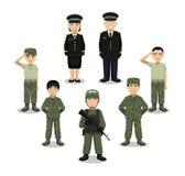 Illustrazione militare di vettore del fumetto dei caratteri Fotografia Stock