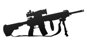 Illustrazione militare di vettore della siluetta dell'arma automatica di stile illustrazione di stock