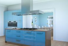 Illustrazione moderna blu di interior design della cucina Fotografia Stock Libera da Diritti