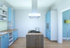 Illustrazione moderna blu di interior design della cucina Fotografia Stock