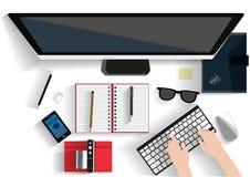 Illustrazione moderna del posto di lavoro Concetto piano dell'illustrazione di progettazione per il posto di lavoro all'ufficio,  Immagini Stock